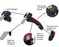 Wholesale 2016 Newly Car Door Armrests Car Cane Handle emergency hammer Flashlight Glass Breaker Belt Cutter Car Grip Tool