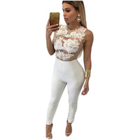 Wholesale New Lace Crochet Women Jumpsuit Sleeveless Sexy Bandage Bodysuit Black White Red Skinny Lace Up Flower Rompers Overalls