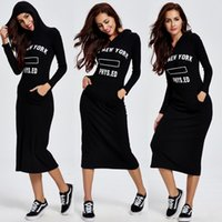 acrylic words - 2016 New Fashion Autumn Winter Women Dresses Casual Hooded Loose Words Printed Sports Plus size Knee Length Sport Street Maxi Dress FS0381