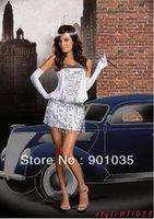 Wholesale Sexy Halloween Sequin Flapper Girl Costume Dress s flapper costume white and sliver color