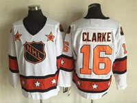 Wholesale Top Quality Cheap All Star Jerseys Bobby Clarke Jerseys White CCM Throwback Ice Hockey Jerseys Stitched Name Number Logos