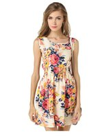 atmosphere dress - European summer sleeveless vest dress code printed skirt Floral Chiffon Dress simple and stylish atmosphere clothing