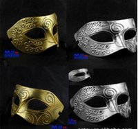 adult greek costumes - 50pcs Gold Silver Sexy Antique Roman Greek Fighter Men Mask Venetian Party Masquerade Halloween Christmas Costume Half Face Masks