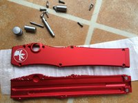 Wholesale Disassembled High quality SALE MICROTECH HALO V Plain single action knife Tanto Edge Tactical D2 knife knives in original box red