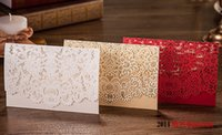 Wholesale 2016 Red White Champagne Floral Laser Cut Wedding Invitations Table Card Seat Card Birthday Card Wedding Favors Gifts