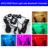 atv music - 4PCS CREE LED Lights RGB Led Rock Light with Blue tooth Music Controller Waterproof for Off Road Trucks Under Vehicle Car ATV SUV Jeep Boat