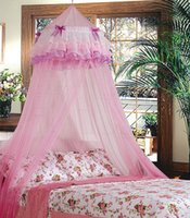 Wholesale Triple Flower Elegant Lace Bed Mosquito Netting Ruffle Princess Pink Mesh Canopy Round Dome Bedding Net