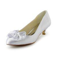 al por mayor lazo de satén grande de marfil-2016 6cm talón bajo cómoda bomba del satén marfil caliente mujeres blancas zapatos de boda con el arco grande