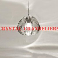 Wholesale 1 LIGHT CONTEMPORARY CLEAR GOLD CRYSTAL GLASS SPHERE BALL CHANDELIER MIZU HEAD PENDANT CEILING LAMP WITH ROUND STAINLESS STEEL BASE