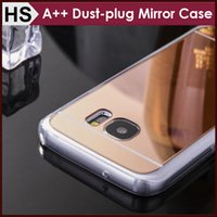 acrylic dust covers - High Quality For Samsung S7 Edge Case Mirror Acrylic TPU Dustproof Plug Dust plug Soft Clear Bumper Mix Models Phone Cover
