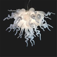 Wholesale Modern Art Home Decor White Blown Glass Chandelier Light European Crystal Decorative Cheap Murano Glass Pendant Lamps