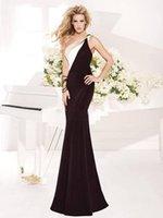 affordable vintage dresses - Affordable Mermaid Sweep Train White And Black Tarik Ediz Backless Evening Dresses One Shoulder Prom Dresses Vintage Style Evening Gowns