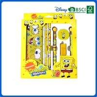 Wholesale Hot Sale kids items stationery set for schools office Christmas gift box school opens pencils suit squarepants