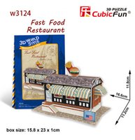 america fast food - cubic fun D paper puzzle jigsaw America Unites States Fast Food Restaurant construction model kid educational toy