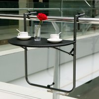 Wholesale IKAYAA Adjustable Steel Folding Balcony Table Hanging Patio Railing Coffee Table H16641