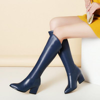 Brand New Women Winter High Heel Real Leather Knight Boots Keep Warm pointed Toe Zipper Long Bottes au genou Elegant Women Shoes Taille 34-39