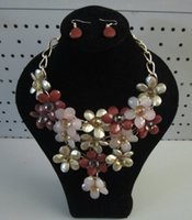 Wholesale New large flower acrylic faceted beads statement necklace and earring set bohemian multi colours milky finish a