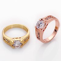 Wholesale Hot Sale K Gold Plated Fashion Women Exquisite Jewelry Elegant Gem Ring Lovers Accessories