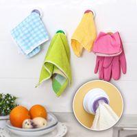 Wholesale Bathroom Storage Wash Cloth Towel Clip Kitchen Towel Storage Rack Accessories Creative self adhesive multi purpose cloth towel clip