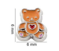 bear memories - 20pcs Cartoon Bear Floating Locket Charms DIY Alloy Accessories Fit For Living Magnetic Memory Glass Floating Locket