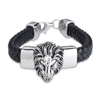 big cowboys - New Arrival Black Geniune Leather Bracelet Bangle for Male Wide Big Lion Head Stainless Steel Bracelet Men Cowboy Accossery Fashion Jewelry