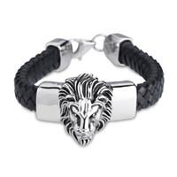 big bracelets for men - New Arrival Black Geniune Leather Bracelet Bangle for Male Wide Big Lion Head Stainless Steel Bracelet Men Cowboy Accossery Fashion Jewelry