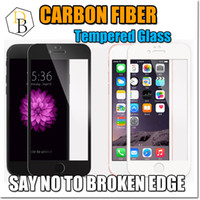 Wholesale New Iphone Carbon Fiber Soft Edge Tempered Glass I7 plus screen Protector Iphone s Full Screen Film Anti Scratch D Curved
