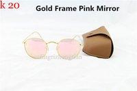 al por mayor mejor lente de espejo-Las mejores gafas de sol del metal de la calidad redonda diseñan los vidrios del espejo los vidrios eyewear el verde del flash las lentes de cristal de 50m m para las mujeres para hombre