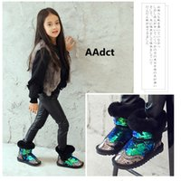 Wholesale Winter children shoes girls warm ankle boots kids snow boots toddler baby fashion sequins shoes with plush four colors