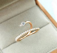 Wholesale Han Guochao popular Korean fashion girls diamond manual microscope thin fine zircon inlaid snake opening ring