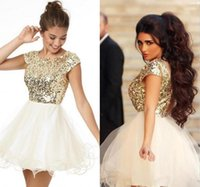 Wholesale Cheap Fancy Tops - fancy arabic short prom dresses jewel neckline vestidos fiesta shiny gold sequins top ivory tulle skirt short homecoming dresses cheap