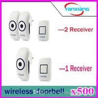 Wholesale 500pcs Wireless Doorbell Operating at feet with or Plug in Receiver and Push Button Chimes White YX ML
