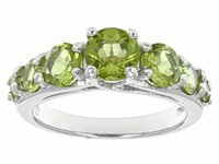 Wholesale ct And ctw Round Manchurian Peridot Sterling Silver Ring Measures Approximately quot l X quot w Not Sizeable Rhodium Plated