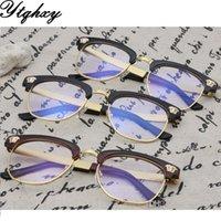 Wholesale Eyeglasses Frame Women Eyebrow Half Frame Glasses Plain Mirror Retro Optical Glasses Colors To Choose L
