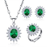 Wholesale White Gold Plated Women Jewelry Sets Emerald Cubic Zirconia Wedding Resizable Round Cut Rings Stud Earrings and Necklaces Piece Suit
