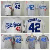 Wholesale Cheap Men Los Angeles Dodgers Jackie Robinson Throwback M N jerseys White Cream grey Baseball Jerseys fashions sports
