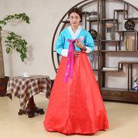 Wholesale woman elegant Korean traditional Costume flower print Korea dance performance clothing female hanbok court pincess dress