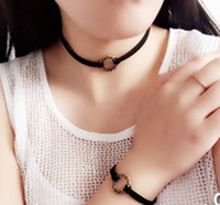 Wholesale Korea style lace fabric clavicle necklace Bracelet Length with alloy pendant necklace fashion in gift for women