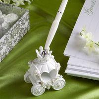 Wholesale 100 Brand New Fashion Wedding Pen with Elegent Pumpkin Pen Stand Excellent Wedding Supplies Beautiful Wedding Decoration