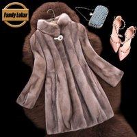 Wholesale Real Mink Fur Coat Women Winter Fur Jacket New Long Stand Collar Genuine Natural Mink Fur Coats Female Russian Fur Coats