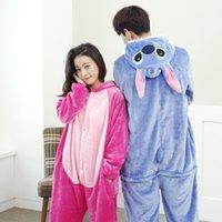 Wholesale Stitch Kigurumi Pajamas Animal suits Cosplay Costume Adult Garment Coral Fleece Stitch Cartoon Animal Sleep one piece