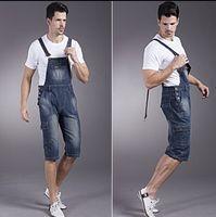 bib cargo shorts - Designer Brand Male Denim Jumpsuit Cargo Pocket Denim Bib Overall Jean Shorts For Men Knee Length Jumpsuit Blue Big Size