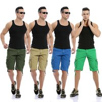 Wholesale Summer Colorful Men s Pockets Casual Cargo Shorts Outdoor Wear Trousers Solid Beaching Camping Works Shorts