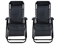 Wholesale 2Pcs Black Zero Gravity Patio Beach Chairs Outdoor Yard Folding Lounge Recliner