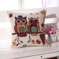 Wholesale Hot Sale Amercian Owls pillow Cushion Linen Cotton Home Decor Sofa Car Seat Decorative Throw pillow
