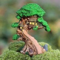 artificial trees sale - arden Buildings Garden Ornaments Sale artificial resin tree wooden house miniature plants fairy garden gnome moss terrarium decor for cra