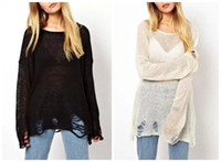 Wholesale Women s Loose Hole Sweater Hollow out Asymetric Hem Loose Knitted V neck Long Sleeve Thin Sweater Tops