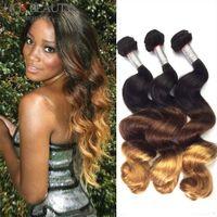 Peruvian Hair hair dye color - Ombre hair weave ombre grade A hair extensions Brazilian Malaysian Indian Peruvian Virgin Hair Ombre Loose Wave Human Hair Weave