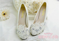 Wholesale 2016 Romantic Flowers Rhinestones Appliqued High Heeled Shoes for Brides Wedding Flat Sole Shoes White Floral Lace Wedding Shoes DHG14