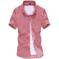 Wholesale New short sleeve men shirts male high quality casual shirts striped shirt men color Plus Size M XL D16